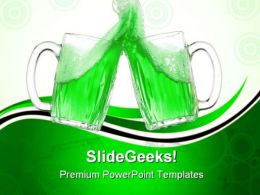 Green Beer Glasses Food PowerPoint Templates And PowerPoint Backgrounds 0611