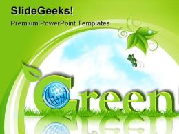 Green Card With Globe Environment PowerPoint Templates And PowerPoint Backgrounds 0311