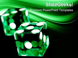 Green Dices Game PowerPoint Templates And PowerPoint Backgrounds 0211