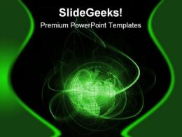Green Globe Earth PowerPoint Template 0910