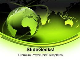 Green Globe Map Earth PowerPoint Template 0910