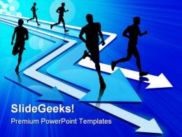 Group Of Five Man Running On Arrow Competition PowerPoint Templates And PowerPoint Backgrounds 0411