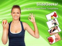 Gymnastics Girl With An Apple Health PowerPoint Templates And PowerPoint Backgrounds 0311
