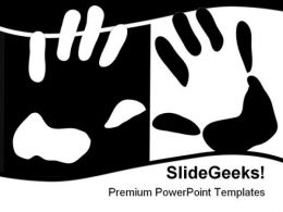 Hand Print People PowerPoint Template 0810