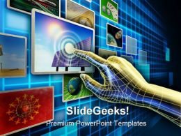 Hand Using A Touch Screen Technology PowerPoint Templates And PowerPoint Backgrounds 0311