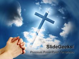 Hands Cross Religion PowerPoint Template 0610