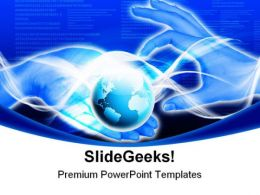 Hands Line Planet Earth Global PowerPoint Templates And PowerPoint Backgrounds 0211