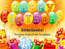 Happy Birthday And Gifts Entertainment PowerPoint Backgrounds And Templates 0111