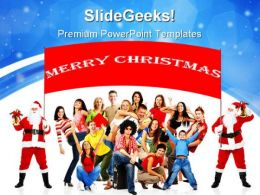 Happy People And Merry Christmas Festival PowerPoint Templates And PowerPoint Backgrounds 0711
