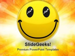 Happy Trader Smiley Symbol PowerPoint Templates And PowerPoint Backgrounds 0611