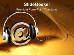 Headphones And At Symbol Music PowerPoint Template 1110