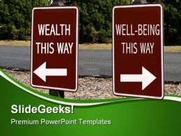 Health And Wellbeing Signpost Metaphor PowerPoint Templates And PowerPoint Backgrounds 0811