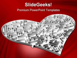 Heart Maze Shapes PowerPoint Backgrounds And Templates 1210