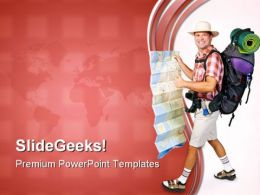 Hiker With Map Vacations PowerPoint Templates And PowerPoint Backgrounds 0711