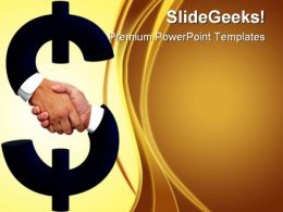 Hnadshake With Dollar Sign People PowerPoint Template 0910