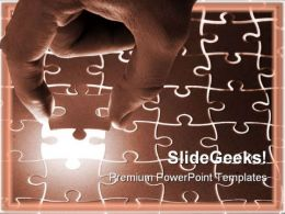 Holding Puzzle Piece Metaphor PowerPoint Templates And PowerPoint Backgrounds 0711