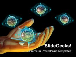 Holding Technology Science PowerPoint Backgrounds And Templates 1210