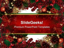Holly Berries Christmas PowerPoint Template 0610