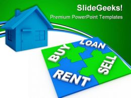 Home Puzzle Buy And Sell Real Estate PowerPoint Templates And PowerPoint Backgrounds 0411