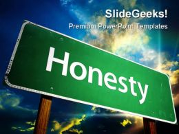 Honesty Road Sign Travel PowerPoint Template 1110