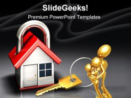 House Lock And Key Security PowerPoint Backgrounds And Templates 1210