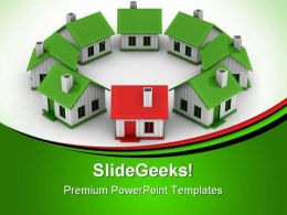 Houses Standing Real Estate PowerPoint Templates And PowerPoint Backgrounds 0511