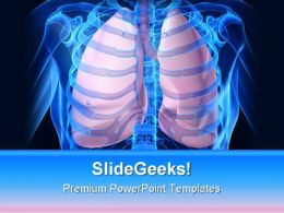 Human Lungs Medical PowerPoint Template 0610