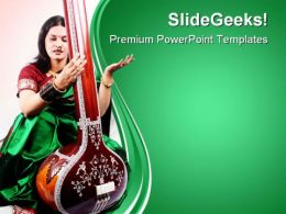 Indian Classical Singer Music PowerPoint Templates And PowerPoint Backgrounds 0611