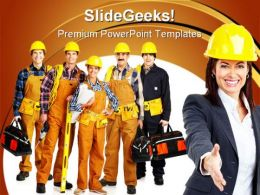 Industrial Workers Construction PowerPoint Templates And PowerPoint Backgrounds 0911