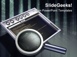 Internet Browser And Magnifying Global PowerPoint Templates And PowerPoint Backgrounds 0311