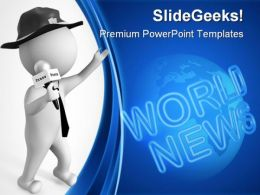 Journalist With Microphone Global PowerPoint Templates And PowerPoint Backgrounds 0411