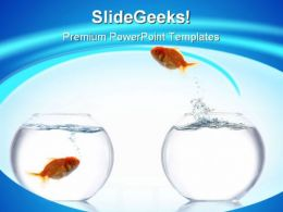 Jump Out Goldfish Animal PowerPoint Template 1110