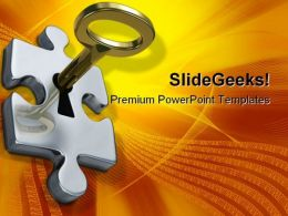Key With Puzzle Security PowerPoint Backgrounds And Templates 1210