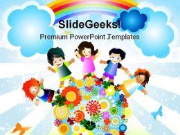 Kids Diversity Globe PowerPoint Template 0610