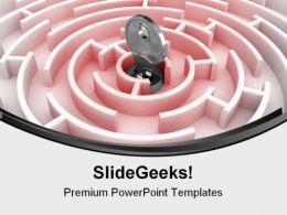 Labyrinth With Key Security PowerPoint Backgrounds And Templates 1210