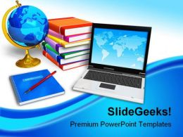 Laptop And Books Education PowerPoint Backgrounds And Templates 0111