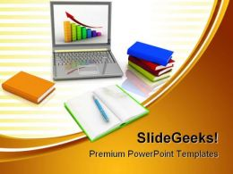 Laptop And Growth Business PowerPoint Templates And PowerPoint Backgrounds 0711
