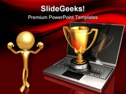 Laptop And Trophy Success PowerPoint Templates And PowerPoint Backgrounds 0311