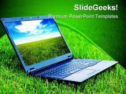 Laptop On Grass Computer PowerPoint Templates And PowerPoint Backgrounds 0211