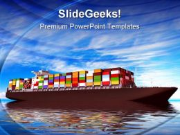 Large Container Ship Transportation PowerPoint Templates And PowerPoint Backgrounds 0411