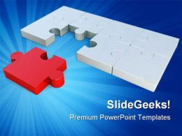 Last Red Puzzle Piece Business PowerPoint Templates And PowerPoint Backgrounds 0711