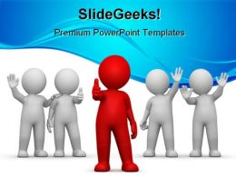 Leader With Team Leadership PowerPoint Backgrounds And Templates 1210