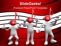 Listen Music PowerPoint Template 0610