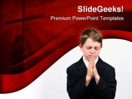 Little Boy Prayer Religion PowerPoint Template 0610  Presentation Themes and Graphics Slide01