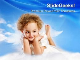 Little Curly Girl Fairy Children PowerPoint Templates And PowerPoint Backgrounds 0511