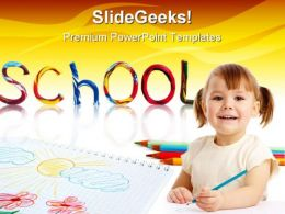 Little School Girl Education PowerPoint Background And Template 1210