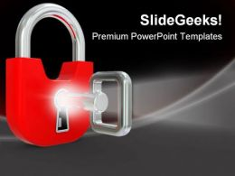 Lock With Key Security PowerPoint Templates And PowerPoint Backgrounds 0211