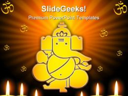 Lord Ganesh Hindu Religion PowerPoint Templates And PowerPoint Backgrounds 0411