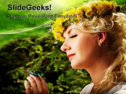 Lovely Woman With A Butterfly Beauty PowerPoint Templates And PowerPoint Backgrounds 0511