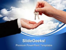 Male Handing Keys To Female Success PowerPoint Templates And PowerPoint Backgrounds 0311